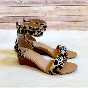 UGG Calf Hair Char Leopard Ankle Strap Sandals